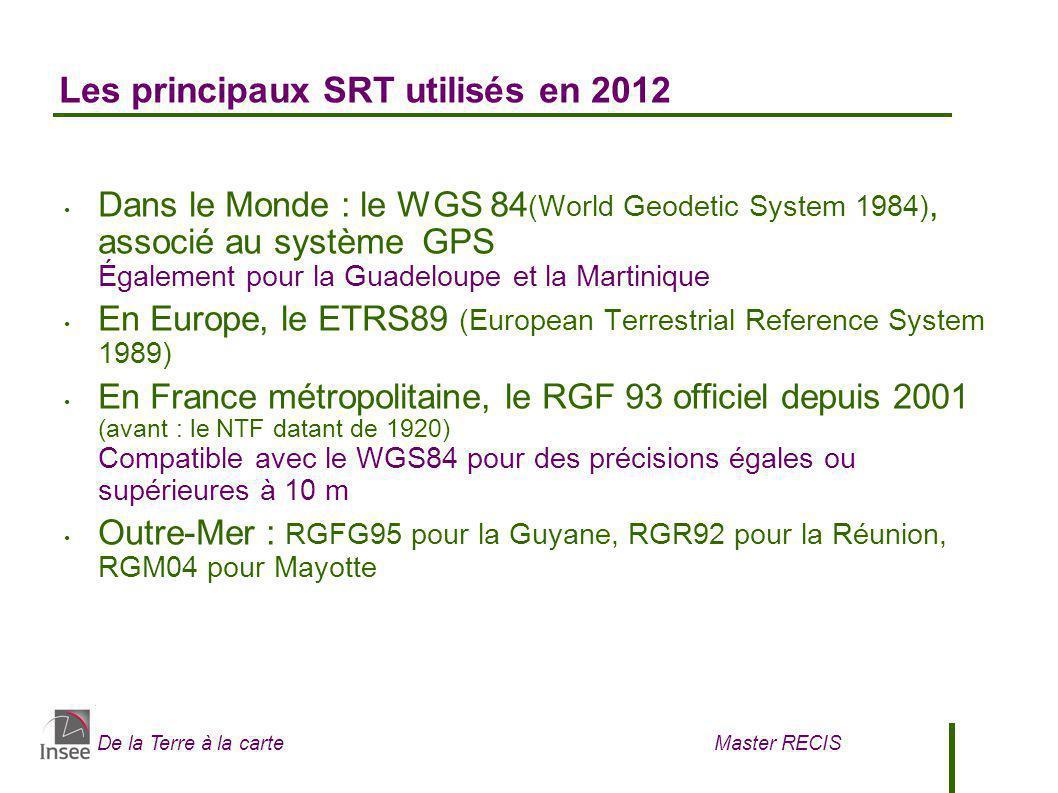 De la Terre à la carte Master RECIS Les principaux SRT utilisés en 2012 Dans le Monde : le WGS 84 (World Geodetic System 1984), associé au système GPS