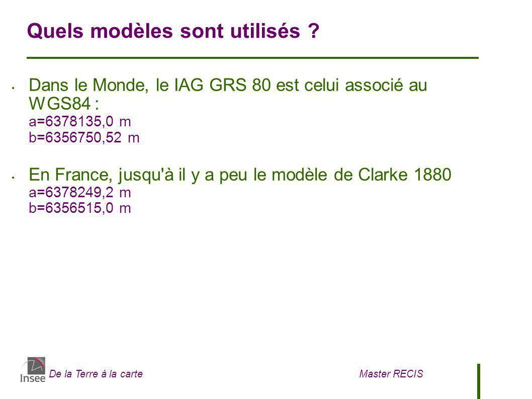 De la Terre à la carte Master RECIS Quels modèles sont utilisés ? Dans le Monde, le IAG GRS 80 est celui associé au WGS84 : a=6378135,0 m b=6356750,52