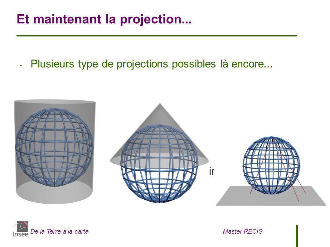 De la Terre à la carte Master RECIS La projection conique Lambert La plus utilisée au monde pour réaliser des cartes En France, deux projections Lambert co-existent encore : - Lambert 93 : elle utilise le RGF93 et le modèle IAG GRS80 (méridien de référence : Greenwich) - Lambert 4 zones (utilisée à l Insee) : basée sur le NTF et sur le modèle de Clarke 1880 (méridien de référence : Paris)