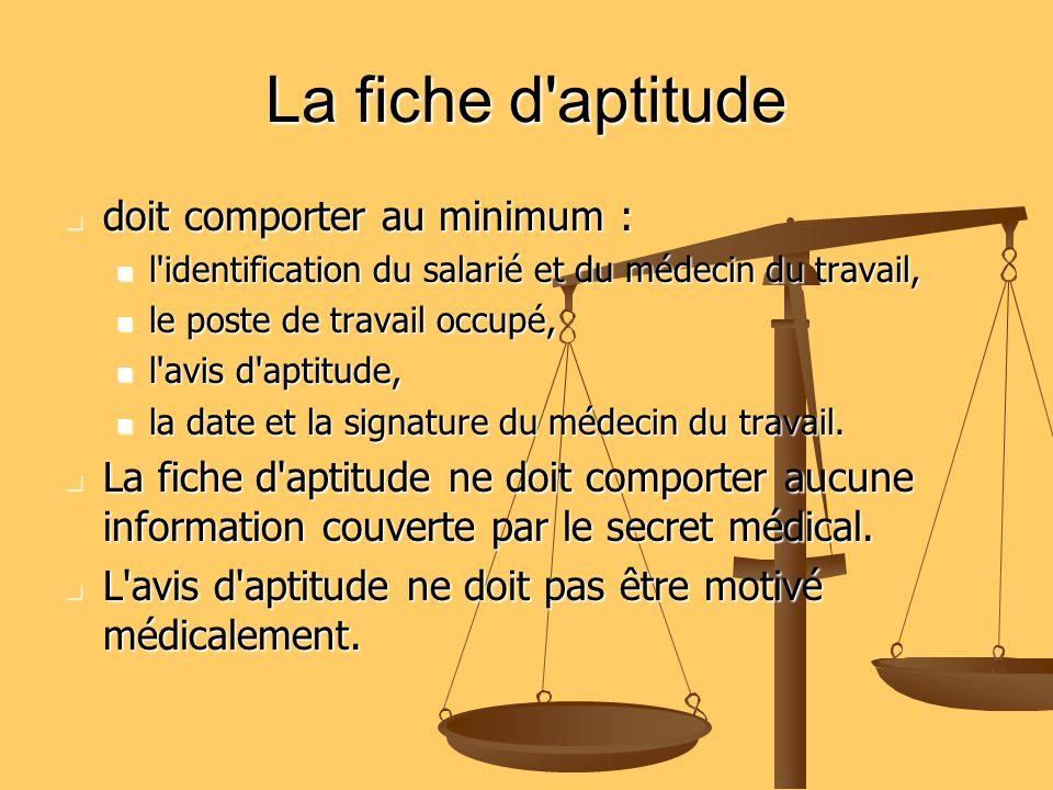 La fiche d'aptitude doit comporter au minimum : doit comporter au minimum : l'identification du salarié et du médecin du travail, l'identification du