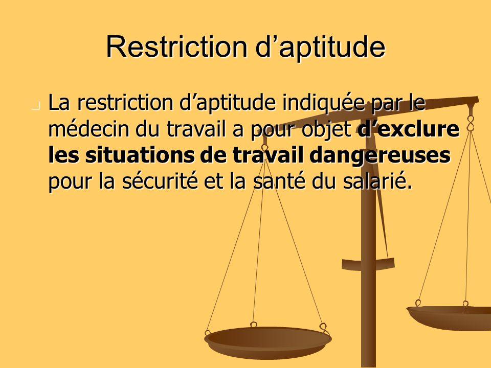 Restriction daptitude La restriction daptitude indiquée par le médecin du travail a pour objet dexclure les situations de travail dangereuses pour la