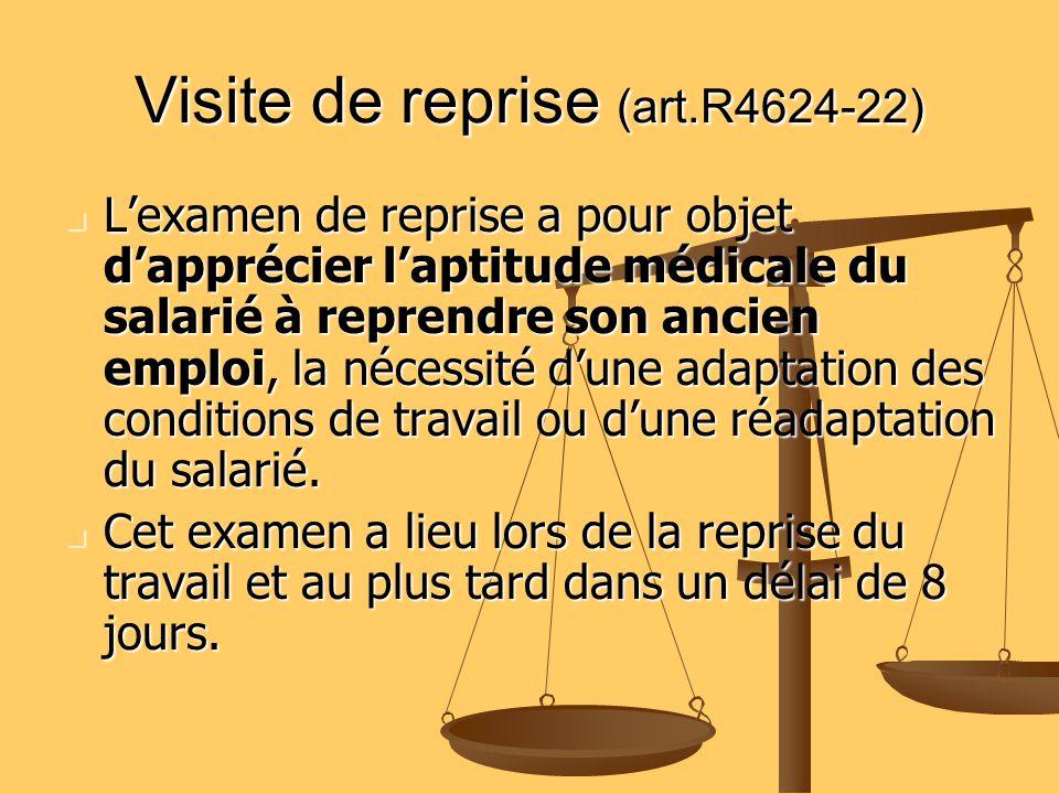 Visite de reprise (art.R4624-22) Lexamen de reprise a pour objet dapprécier laptitude médicale du salarié à reprendre son ancien emploi, la nécessité