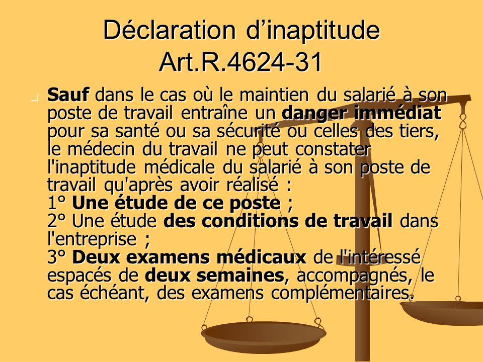 Déclaration dinaptitude Art.R.4624-31 Sauf dans le cas où le maintien du salarié à son poste de travail entraîne un danger immédiat pour sa santé ou s