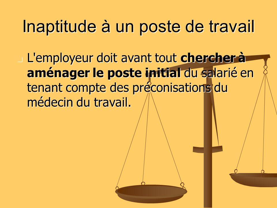 Inaptitude à un poste de travail L'employeur doit avant tout chercher à aménager le poste initial du salarié en tenant compte des préconisations du mé