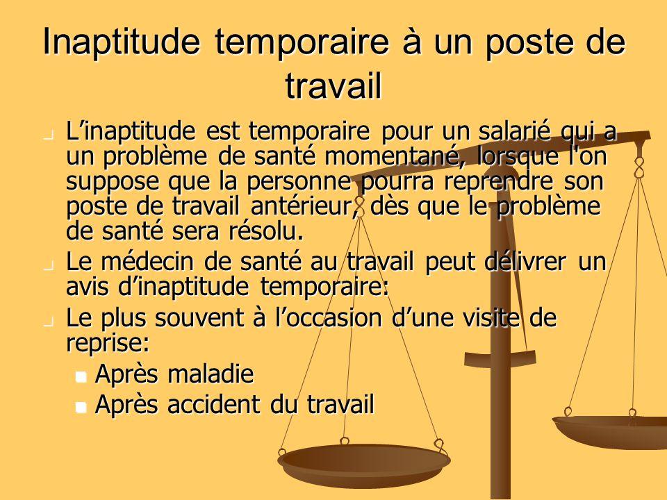 Inaptitude temporaire à un poste de travail Linaptitude est temporaire pour un salarié qui a un problème de santé momentané, lorsque l'on suppose que