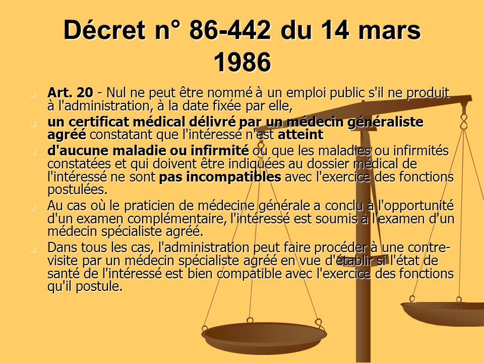 Décret n° 86-442 du 14 mars 1986 Art. 20 - Nul ne peut être nommé à un emploi public s'il ne produit à l'administration, à la date fixée par elle, Art
