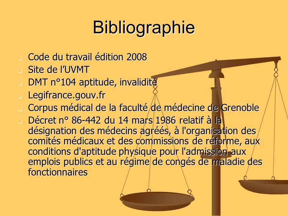 Bibliographie Code du travail édition 2008 Code du travail édition 2008 Site de lUVMT Site de lUVMT DMT n°104 aptitude, invalidité DMT n°104 aptitude,