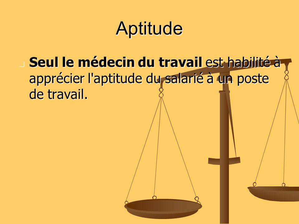 Aptitude Seul le médecin du travail est habilité à apprécier l'aptitude du salarié à un poste de travail. Seul le médecin du travail est habilité à ap