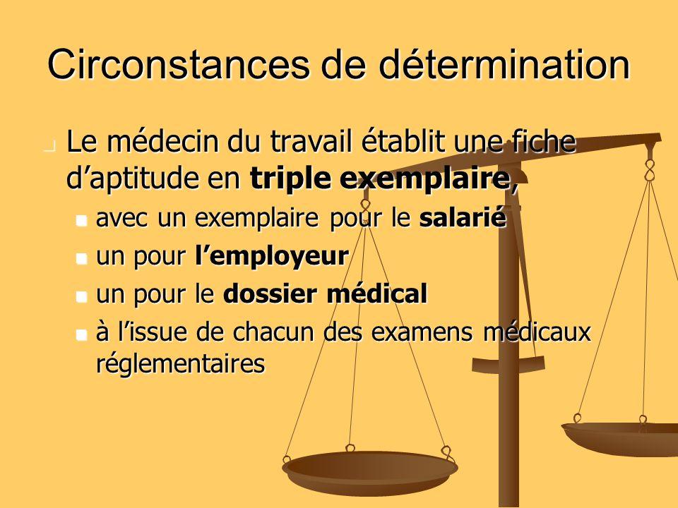 Circonstances de détermination Circonstances de détermination 1 - Visite médicale d embauche (art.R.4624-10) 1 - Visite médicale d embauche (art.R.4624-10) 2 - Visite médicale périodique (art.R.4624-16) 2 - Visite médicale périodique (art.R.4624-16) Au moins tous les 24 mois Au moins tous les 24 mois Une fois par an pour la surveillance médicale renforcée (art.R.4624-17) Une fois par an pour la surveillance médicale renforcée (art.R.4624-17) 3 - Visite de reprise après AT/MP(art.R.4624-21) 3 - Visite de reprise après AT/MP(art.R.4624-21) AT de plus de 8 jours AT de plus de 8 jours 4 - Visite de reprise après tout arrêt « maladie » 4 - Visite de reprise après tout arrêt « maladie » de plus de trois semaines de plus de trois semaines 5 - Visites occasionnelles (dans certaines circonstances) 5 - Visites occasionnelles (dans certaines circonstances)