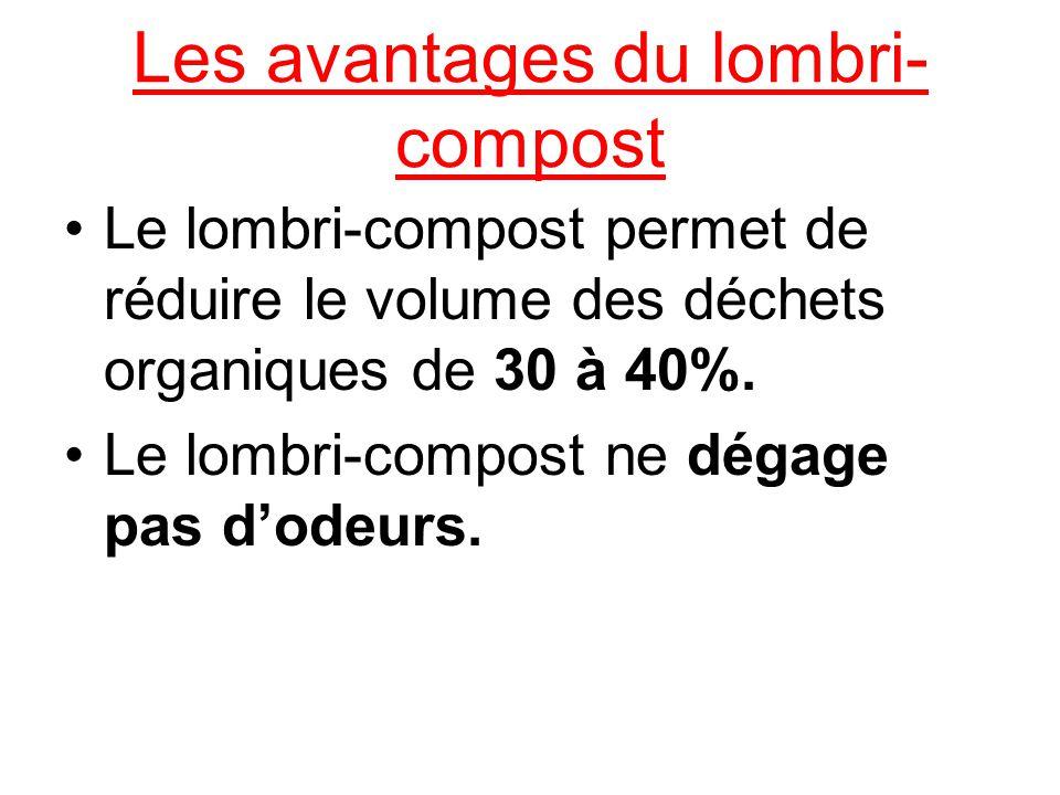 Les avantages du lombri- compost Le lombri-compost permet de réduire le volume des déchets organiques de 30 à 40%. Le lombri-compost ne dégage pas dod