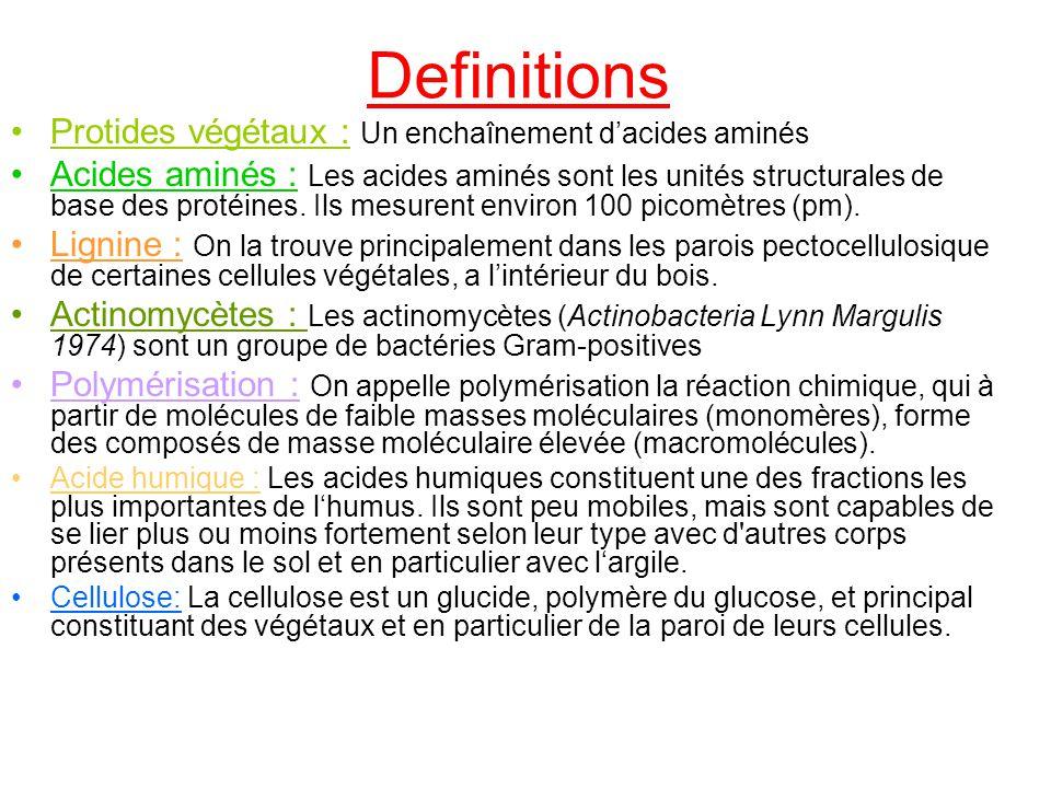 Definitions Protides végétaux : Un enchaînement dacides aminés Acides aminés : Les acides aminés sont les unités structurales de base des protéines. I