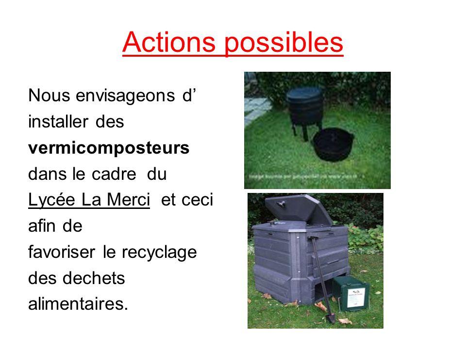 Actions possibles Nous envisageons d installer des vermicomposteurs dans le cadre du Lycée La Merci et ceci afin de favoriser le recyclage des dechets