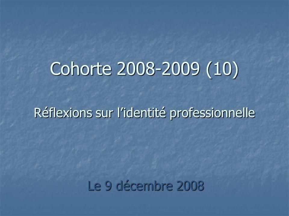 Le 9 décembre 2008 Cohorte 2008-2009 (10) Réflexions sur lidentité professionnelle