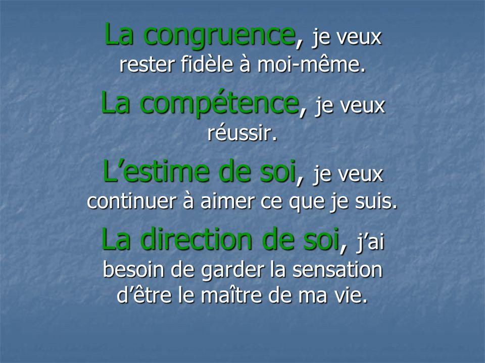 La congruence, je veux rester fidèle à moi-même.La compétence, je veux réussir.