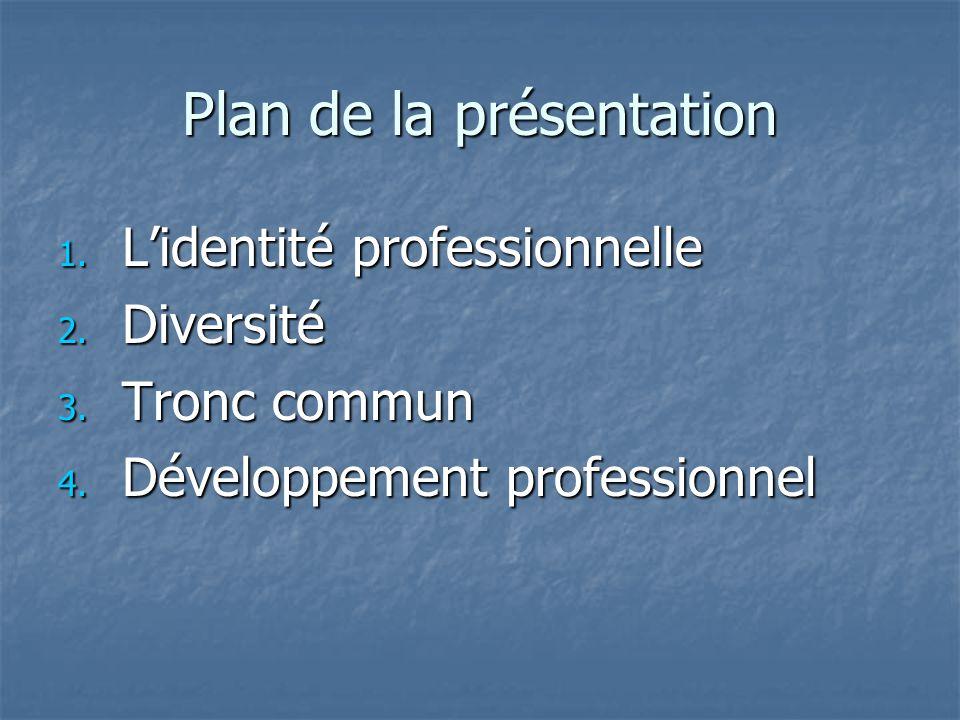 Plan de la présentation 1. Lidentité professionnelle 2. Diversité 3. Tronc commun 4. Développement professionnel