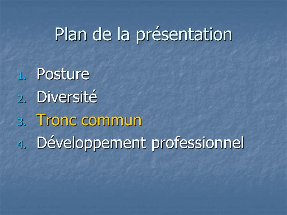 Plan de la présentation 1. Posture 2. Diversité 3. Tronc commun 4. Développement professionnel