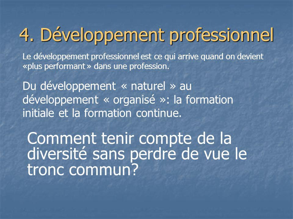 Le développement professionnel est ce qui arrive quand on devient «plus performant » dans une profession. Du développement « naturel » au développemen