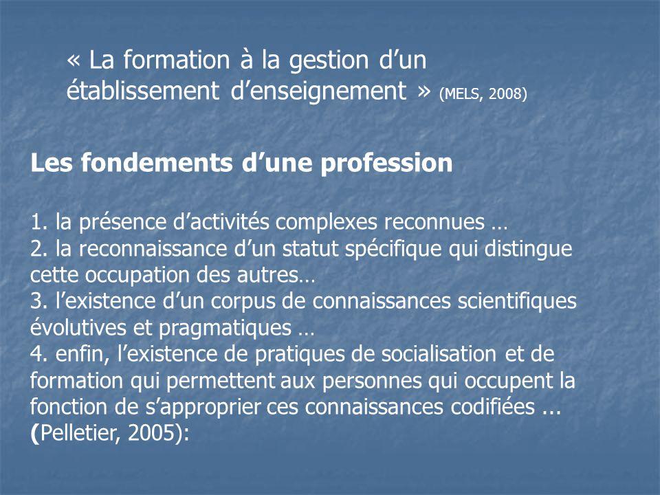 Les fondements dune profession 1. la présence dactivités complexes reconnues … 2. la reconnaissance dun statut spécifique qui distingue cette occupati