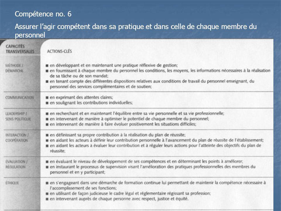 Compétence no. 6 Assurer lagir compétent dans sa pratique et dans celle de chaque membre du personnel