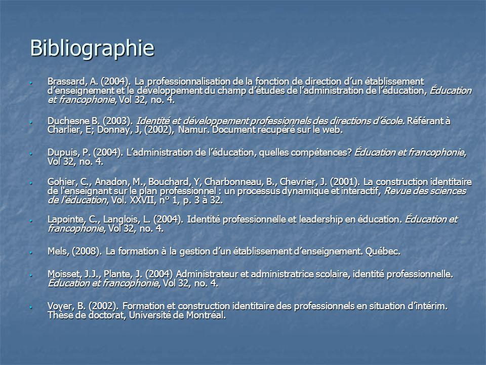 Bibliographie Brassard, A.(2004).