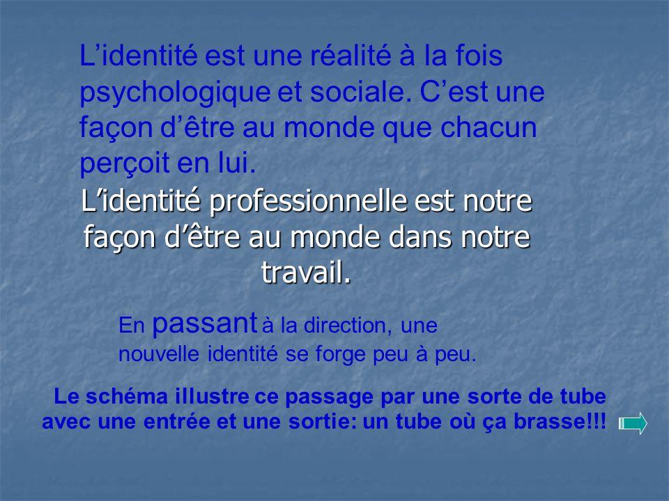 Lidentité professionnelle est notre façon dêtre au monde dans notre travail. Lidentité est une réalité à la fois psychologique et sociale. Cest une fa