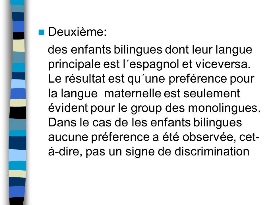 Deuxième: des enfants bilingues dont leur langue principale est l´espagnol et viceversa. Le résultat est qu´une preférence pour la langue maternelle e