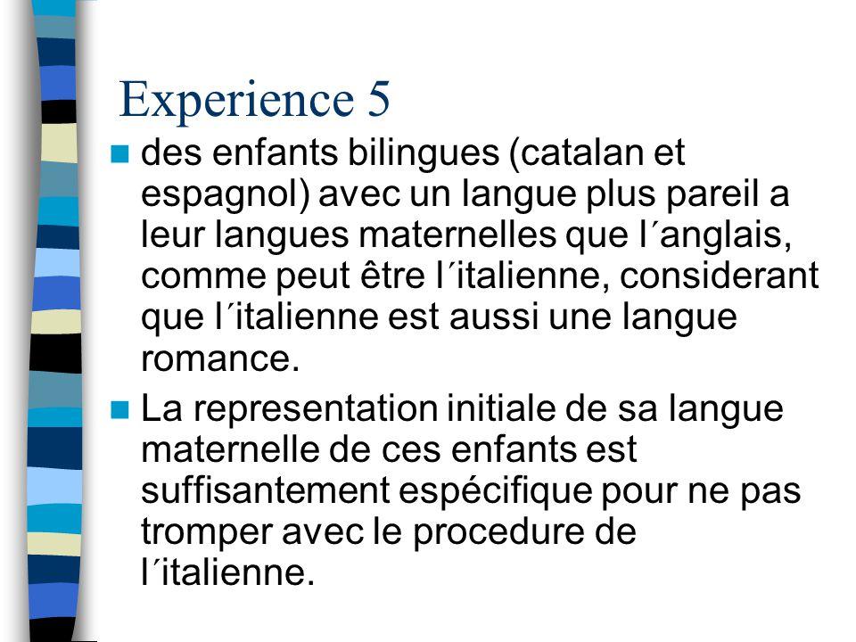 Experience 5 des enfants bilingues (catalan et espagnol) avec un langue plus pareil a leur langues maternelles que l´anglais, comme peut être l´italienne, considerant que l´italienne est aussi une langue romance.