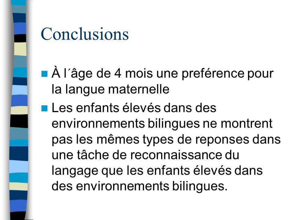 Conclusions À l´âge de 4 mois une preférence pour la langue maternelle Les enfants élevés dans des environnements bilingues ne montrent pas les mêmes types de reponses dans une tâche de reconnaissance du langage que les enfants élevés dans des environnements bilingues.