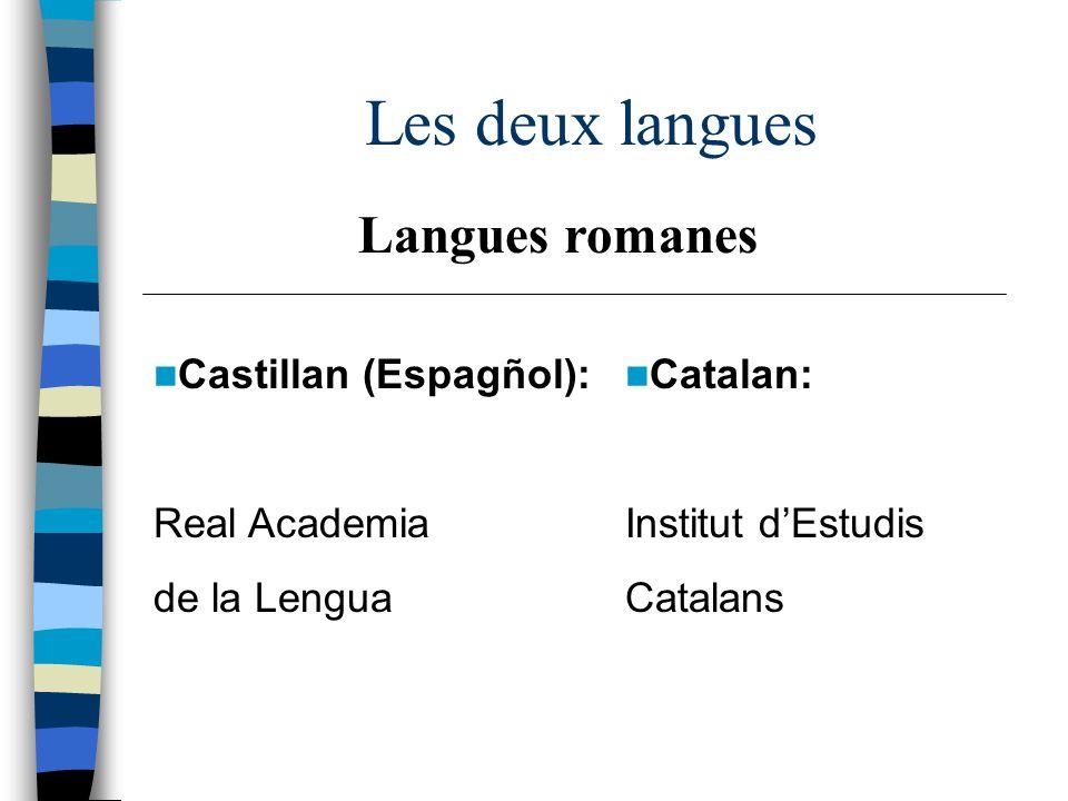 Les deux langues Castillan (Espagñol): Real Academia de la Lengua Catalan: Institut dEstudis Catalans Langues romanes