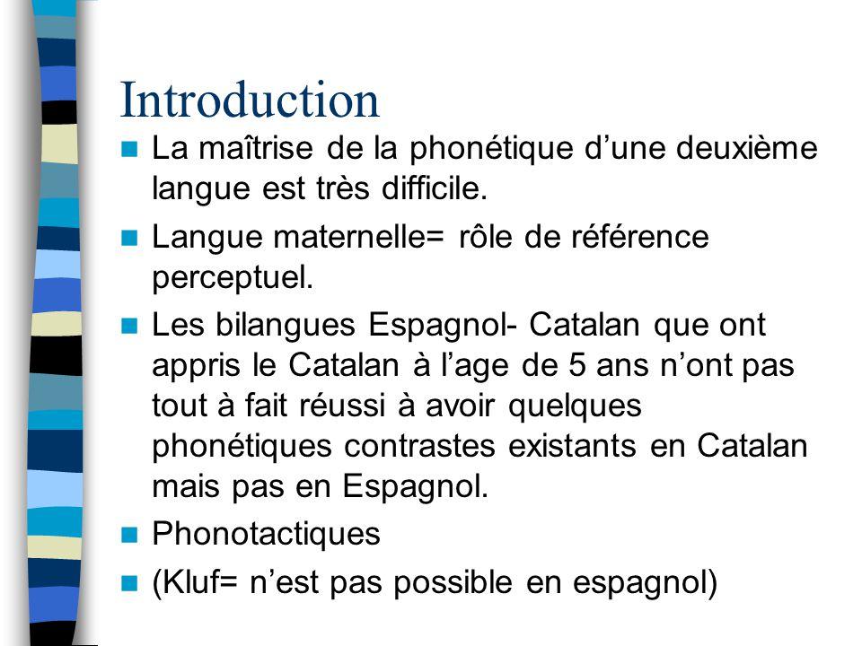 Introduction La maîtrise de la phonétique dune deuxième langue est très difficile. Langue maternelle= rôle de référence perceptuel. Les bilangues Espa