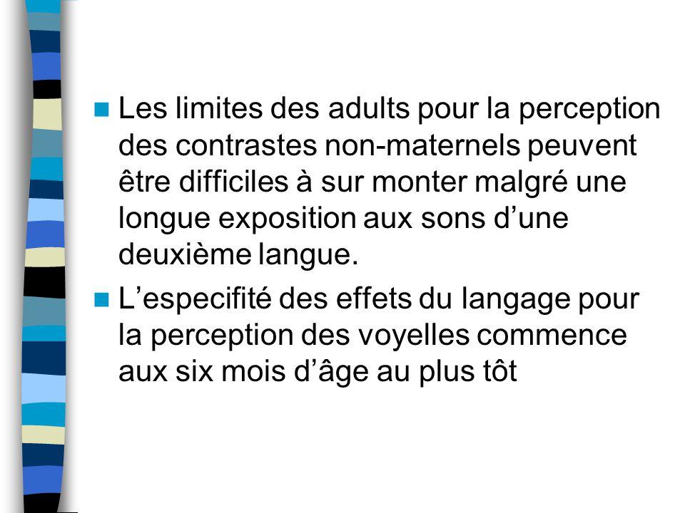 Les limites des adults pour la perception des contrastes non-maternels peuvent être difficiles à sur monter malgré une longue exposition aux sons dune deuxième langue.