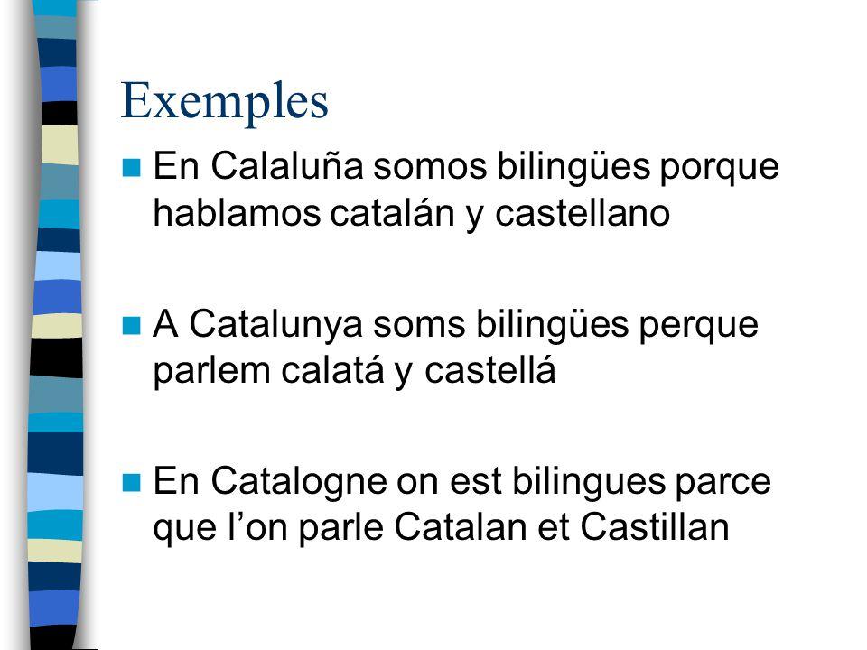 Exemples En Calaluña somos bilingües porque hablamos catalán y castellano A Catalunya soms bilingües perque parlem calatá y castellá En Catalogne on e