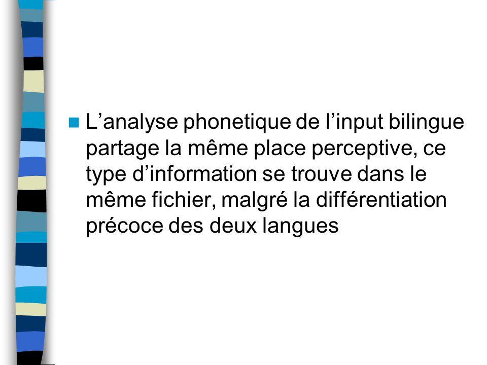 Lanalyse phonetique de linput bilingue partage la même place perceptive, ce type dinformation se trouve dans le même fichier, malgré la différentiation précoce des deux langues