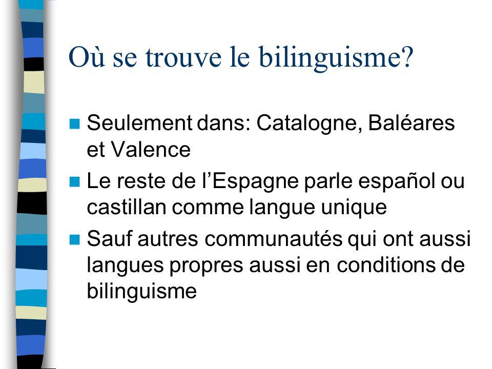Où se trouve le bilinguisme? Seulement dans: Catalogne, Baléares et Valence Le reste de lEspagne parle español ou castillan comme langue unique Sauf a