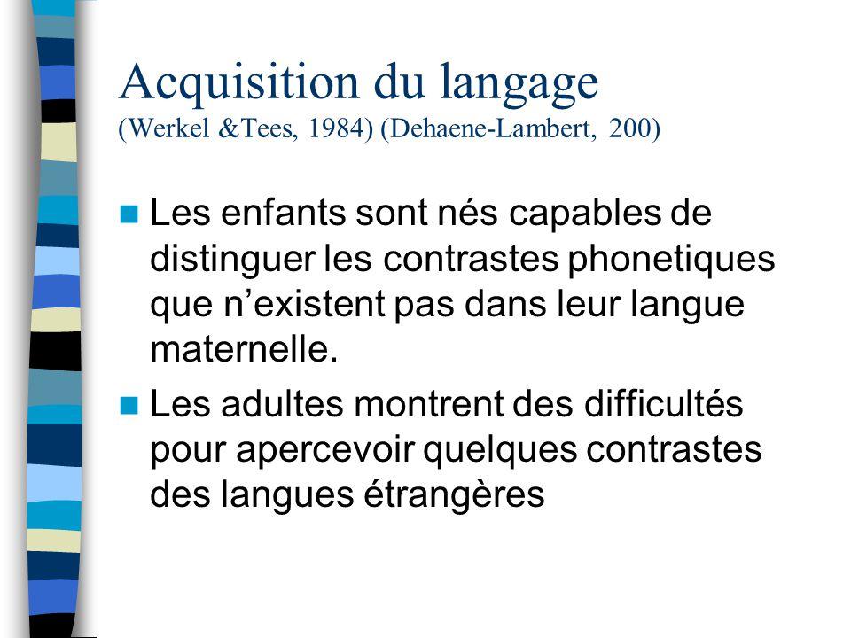 Acquisition du langage (Werkel &Tees, 1984) (Dehaene-Lambert, 200) Les enfants sont nés capables de distinguer les contrastes phonetiques que nexistent pas dans leur langue maternelle.