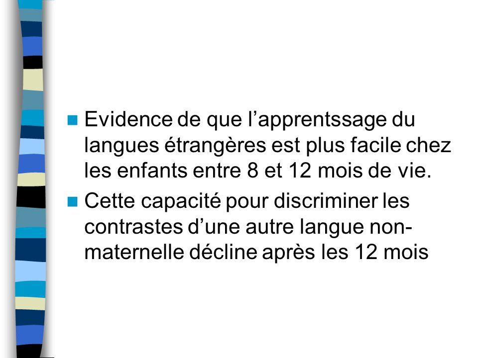 Evidence de que lapprentssage du langues étrangères est plus facile chez les enfants entre 8 et 12 mois de vie. Cette capacité pour discriminer les co