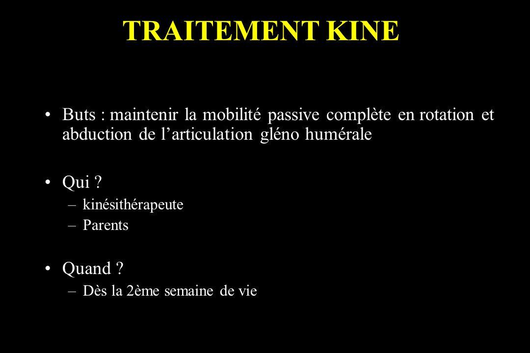 Buts : maintenir la mobilité passive complète en rotation et abduction de larticulation gléno humérale Qui ? –kinésithérapeute –Parents Quand ? –Dès l