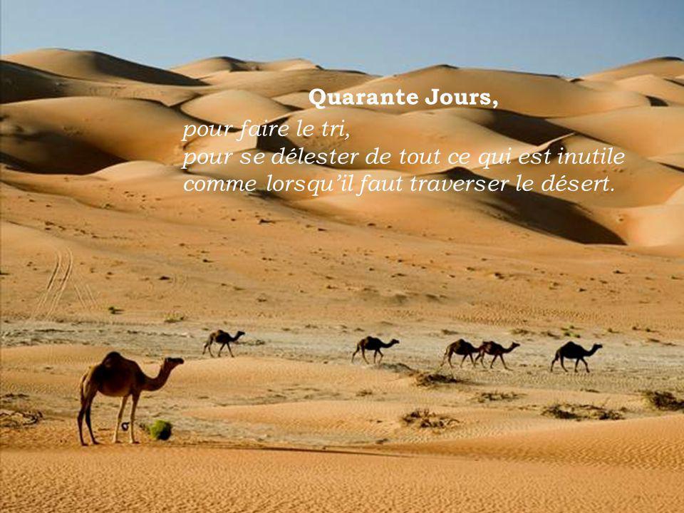 pour faire le tri, pour se délester de tout ce qui est inutile comme lorsquil faut traverser le désert.