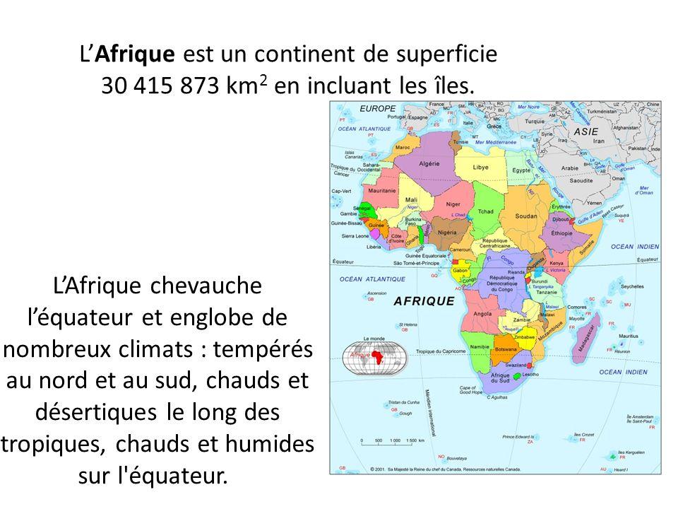 LAfrique est un continent de superficie 30 415 873 km 2 en incluant les îles. LAfrique chevauche léquateur et englobe de nombreux climats : tempérés a