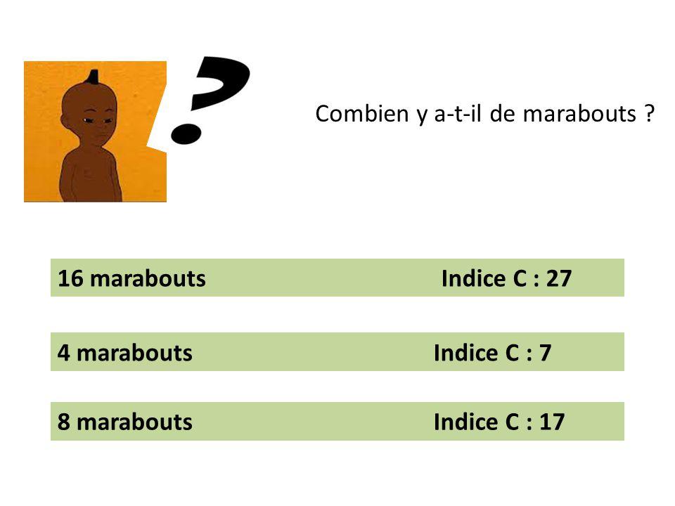 Combien y a-t-il de marabouts ? 16 marabouts Indice C : 27 4 marabouts Indice C : 7 8 marabouts Indice C : 17