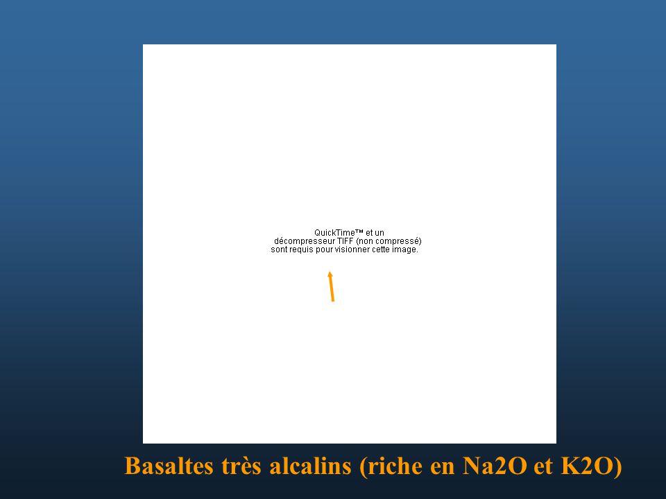 Basaltes très alcalins (riche en Na2O et K2O)