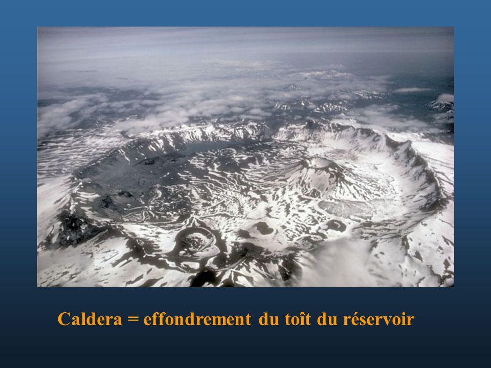 Caldera = effondrement du toît du réservoir