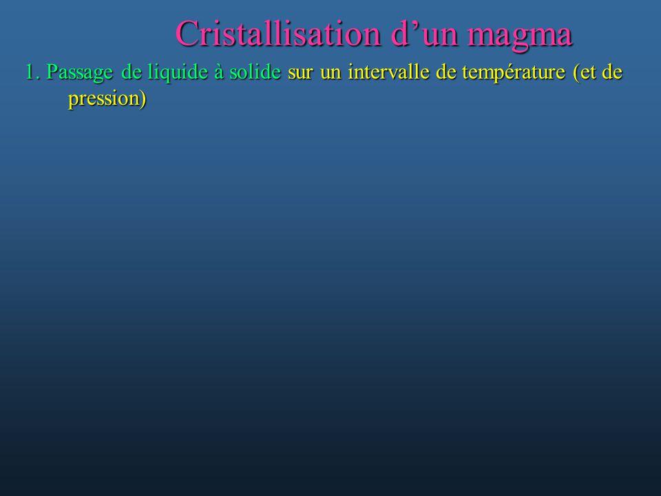 Cristallisation dun magma 1. Passage de liquide à solide sur un intervalle de température (et de pression)