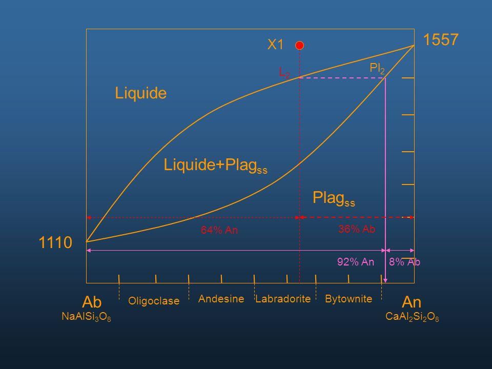 AbAn NaAlSi 3 O 8 CaAl 2 Si 2 O 8 Oligoclase AndesineLabradoriteBytownite 1557 1110 Liquide Liquide+Plag ss Plag ss X1 Pl 2 L2L2 92% An8% Ab 64% An 36