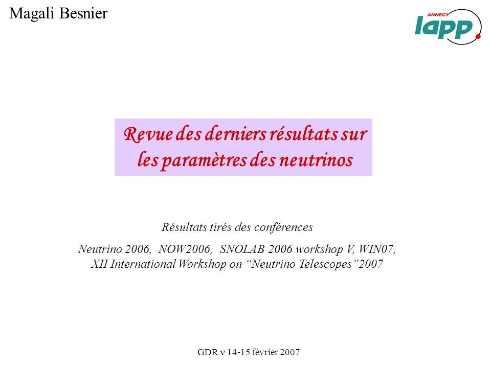 Revue des derniers résultats sur les paramètres des neutrinos Magali Besnier GDR 14-15 février 2007 Résultats tirés des conférences Neutrino 2006, NOW