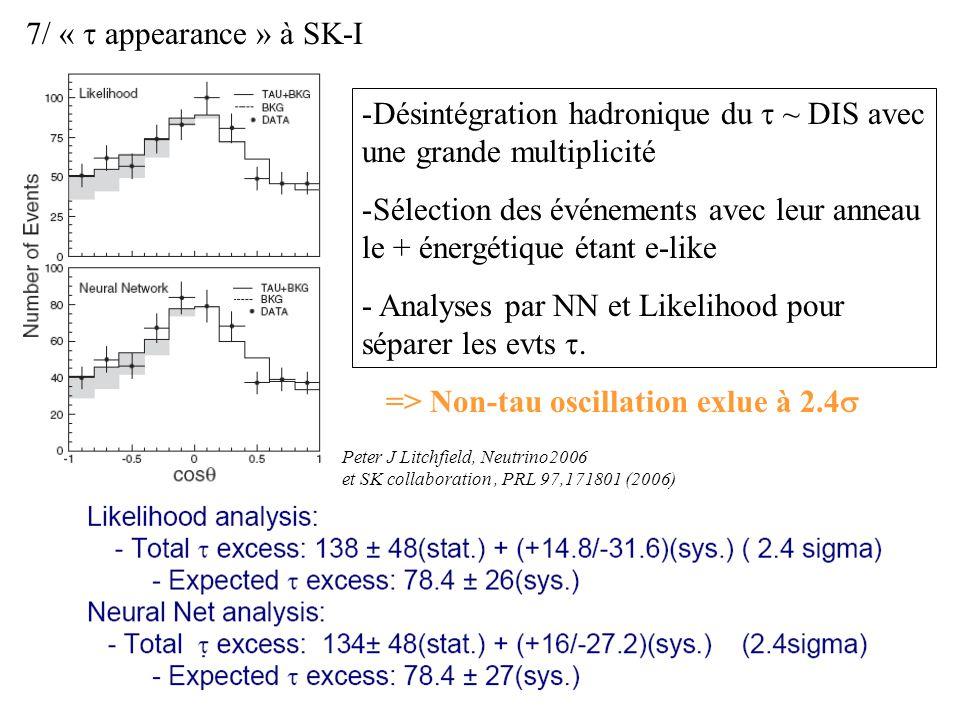 7/ « appearance » à SK-I => Non-tau oscillation exlue à 2.4 -Désintégration hadronique du ~ DIS avec une grande multiplicité -Sélection des événements