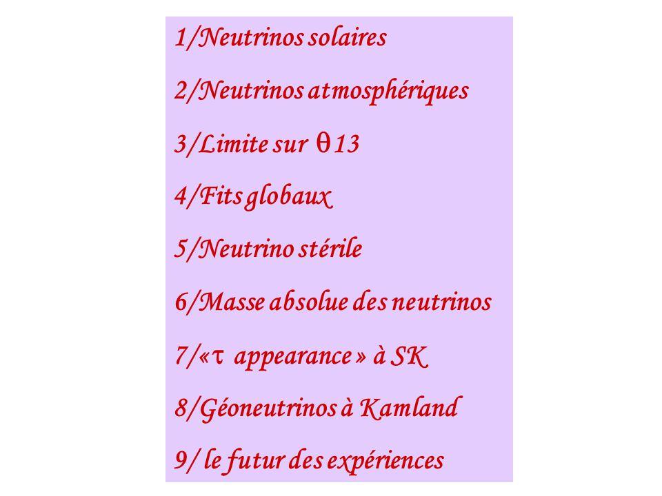 1/Neutrinos solaires 2/Neutrinos atmosphériques 3/Limite sur 13 4/Fits globaux 5/Neutrino stérile 6/Masse absolue des neutrinos 7/« appearance » à SK
