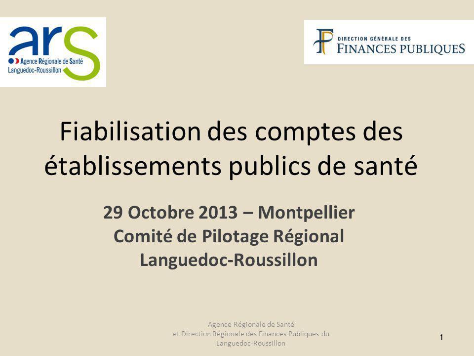 11 29 Octobre 2013 – Montpellier Comité de Pilotage Régional Languedoc-Roussillon Fiabilisation des comptes des établissements publics de santé Agence Régionale de Santé et Direction Régionale des Finances Publiques du Languedoc-Roussillon