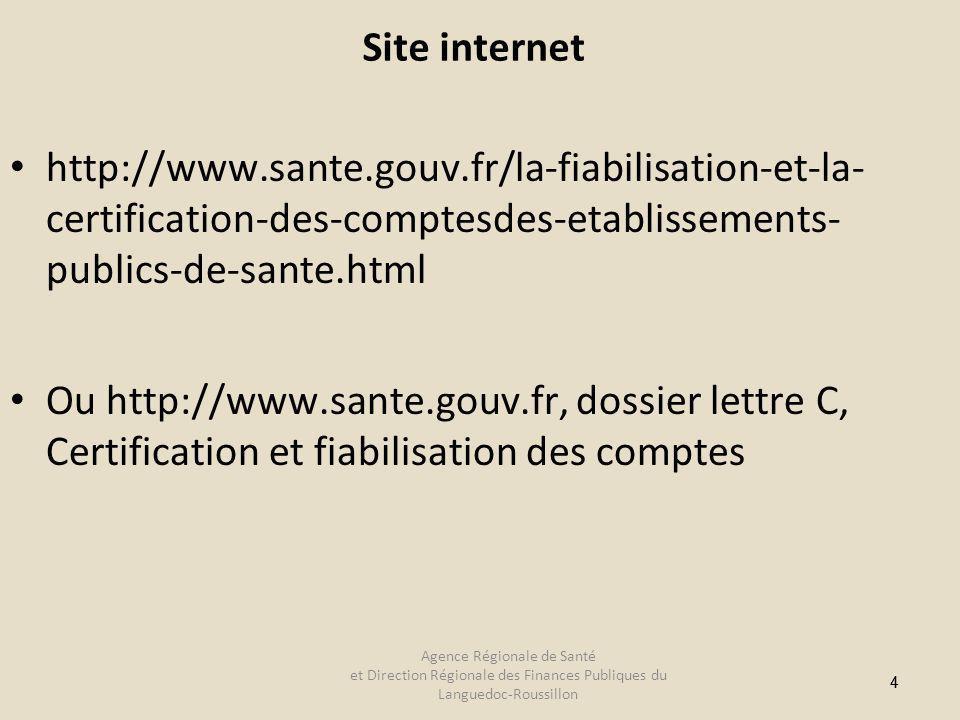 44 Site internet http://www.sante.gouv.fr/la-fiabilisation-et-la- certification-des-comptesdes-etablissements- publics-de-sante.html Ou http://www.sante.gouv.fr, dossier lettre C, Certification et fiabilisation des comptes Agence Régionale de Santé et Direction Régionale des Finances Publiques du Languedoc-Roussillon