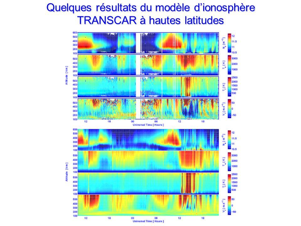 Quelques résultats du modèle dionosphère TRANSCAR à hautes latitudes